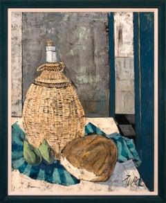 """Pain et Vin"" Framed Original Still Life Oil Painting by Charles Levier"