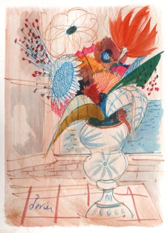 Pink Vase, Watercolor Painting by Charles Levier