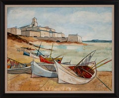 """""""Port Corse"""" Large Nautical Seascape Oil Painting by Charles Levier, Framed"""