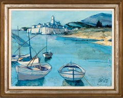 """""""Port en Corse"""" Large 4-Foot Oil Painting on Canvas by Charles Levier, Framed"""
