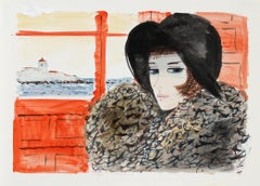 Portrait of Woman in Black Hat, Watercolor Painting by Charles Levier