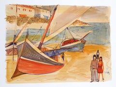 Red Boats on the Sand, Watercolor by Charles Levier