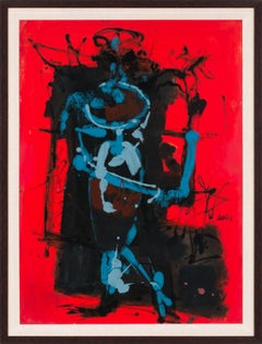 [Rouge Abstrait] Framed Figurative Abstract Oil Painting by Charles Levier