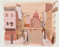 Rue Parisienne en Automne, Watercolor by Charles Levier