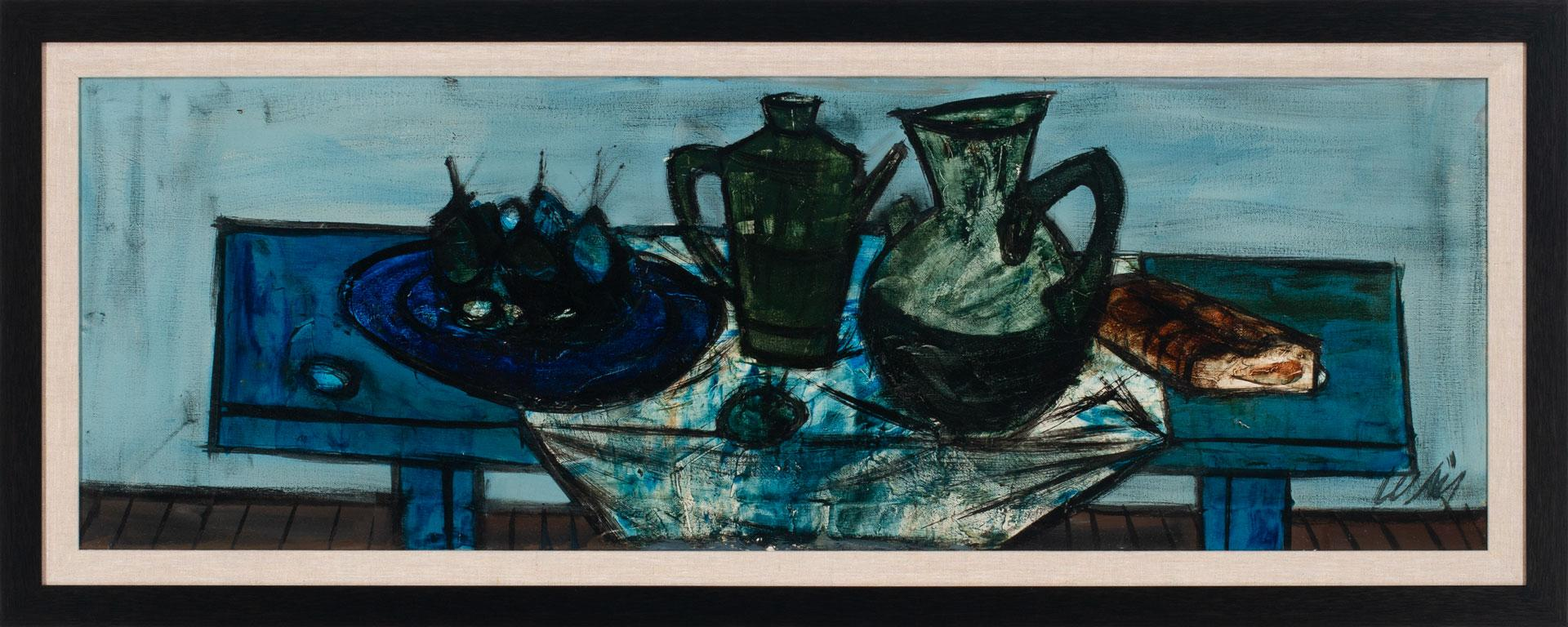 [Table Bleue] Abstract Still Life Oil Painting by Charles Levier, Framed