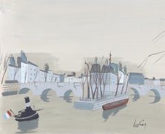 Tugboat on the Seine, Watercolor by Charles Levier