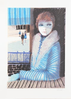 Girl in Blue, Lithograph by Charles Levier