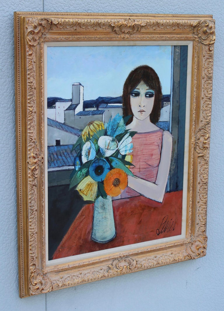 Mid-Century Modern Charles Levier Reverie Oil Painting  For Sale