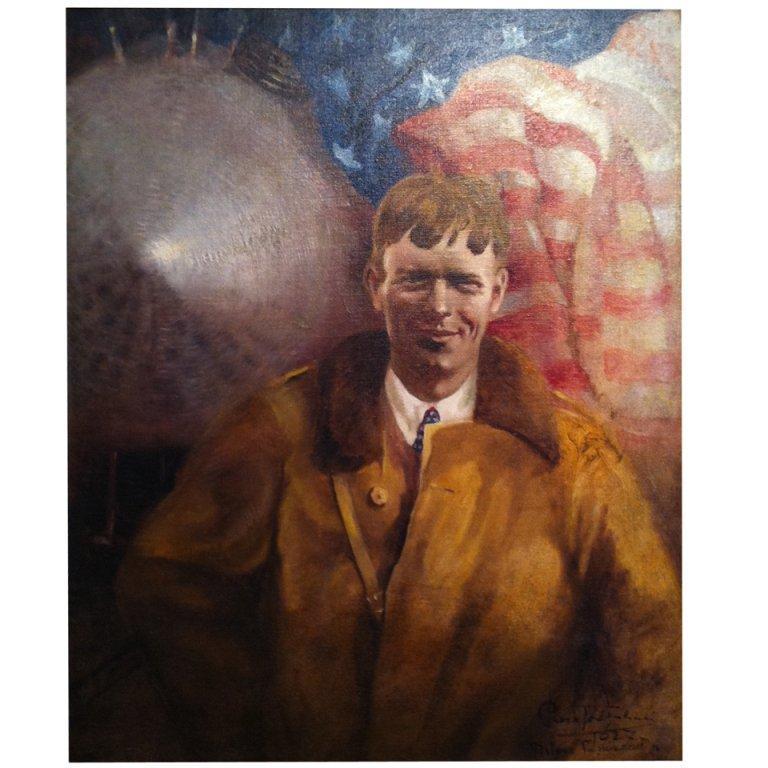 "Charles Lindbergh Painting 'Spirit of St Louis"""