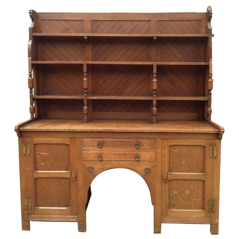 Charles Locke Eastlake Arts & Crafts Oak Dresser with Shelves and Carved Florets