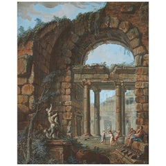 Charles-Louis Clerisseau 18th Century Gouache Of A Dance Amongst Classical Ruins