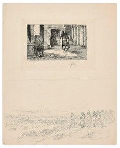 Interior Scene - Original Etching by C.L. Kratke - 1880s