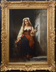 Une Fille de Filature - Large 19th Century French Portrait Oil Painting
