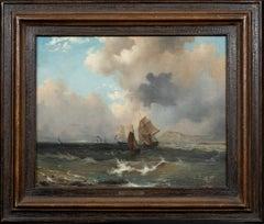 Dutch Ships Sailing Off The Coast, 19th Century