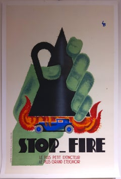 Stop-Fire large original 1930 advertising lithograph (artist's own copy)