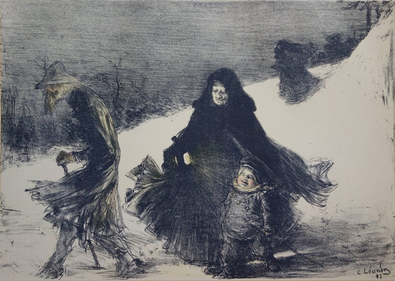 Christmas - original lithograph (1897-1898) - Realist Print by Charles Lucien Léandre