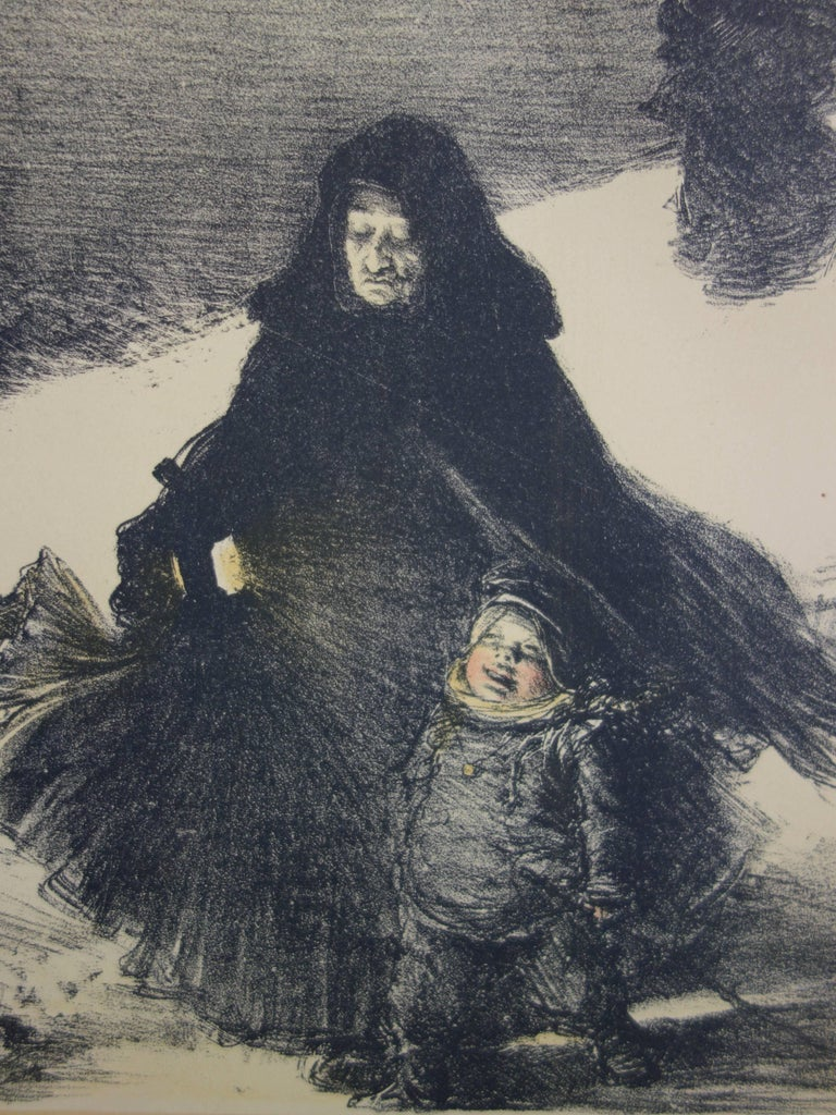 Christmas - original lithograph (1897-1898) - Gray Figurative Print by Charles Lucien Léandre