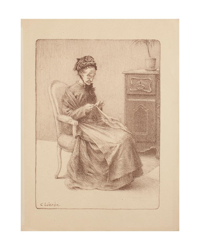 Elderly Woman - Lithograph by Charles Lucien Léandre - Early 20th Century