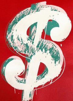 Denied Andy Warhol Dollar Sign Pop Art Painting red white green by Charles Lutz