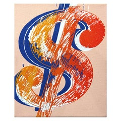 Denied Warhol Dollar Sign Pop Art Painting in Orange and Blue by Charles Lutz