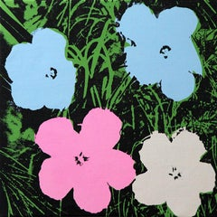 Denied Warhol Flowers, (Pink, Blue, & White) Silkscreen Painting by Charles Lutz