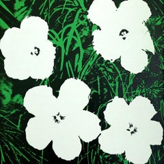 Denied Warhol Flowers, (White & Green) Silkscreen linen Painting by Charles Lutz