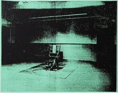 Denied Warhol Mint Green Electric Chair Silk Screen Painting by Charles Lutz