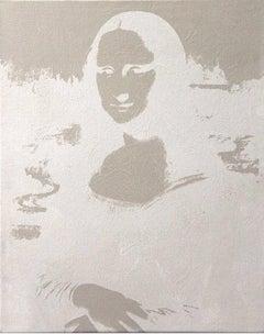 Denied Warhol Mona Lisa Reversal Series white pop art painting by Charles Lutz