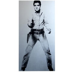 """Elvis"", Denied Warhol Metallic Silver & Black Pop Art Painting by Charles Lutz"