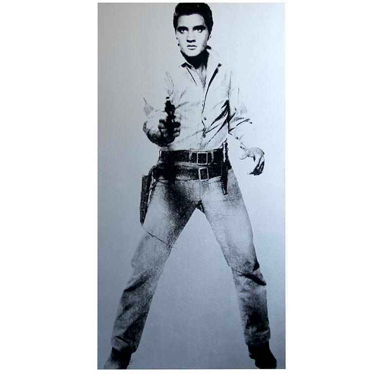 """Elvis, Metallic Silver and Black Full Length Silkscreen Painting by Charles Lutz Silkscreen and enamel on canvas with Denied stamp of the Andy Warhol Art Authentication Board. 82"""" x 42"""" inches 2010  Lutz's 2007 ''Warhol Denied'' series gained him"""