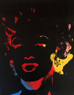 Marilyn Monroe Andy Warhol Denied Painting canvas yellow red blue Charles Lutz