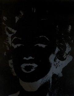 Marilyn Monroe Reversal Andy Warhol Denied Painting canvas black by Charles Lutz