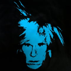 Self Portrait Denied Andy Warhol Blue Silkscreen Painting canvas by Charles Lutz