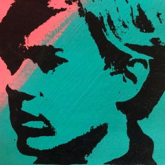 Self Portrait Denied Andy Warhol Green Pink Silkscreen Painting  by Charles Lutz