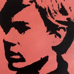Self Portrait Denied Andy Warhol Pink Silkscreen Painting canvas by Charles Lutz