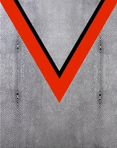 V, Volitility Painting in Red Silver, and Black Shagreen Texture by Charles Lutz