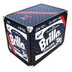 Brillo 3 Cents Off, Black & Blue Louis Vuitton Warhol Sculpture by Charles Lutz