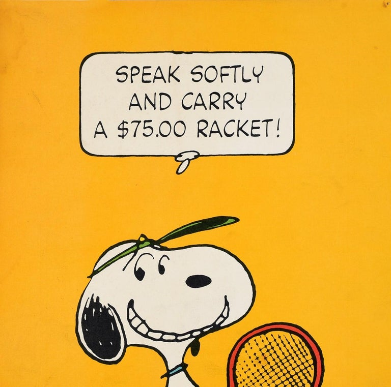 Original Vintage Snoopy Poster Tennis Cartoon Speak Softy And Carry A $75 Racket - Print by Charles M. Schulz