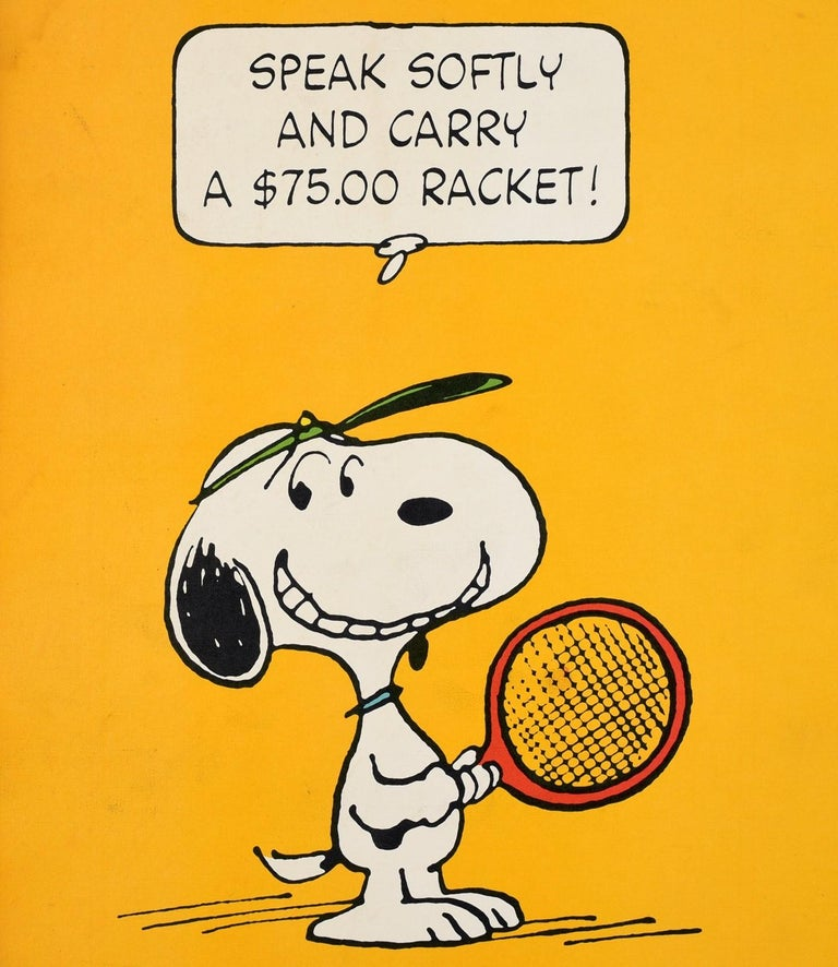 Original Vintage Snoopy Poster Tennis Cartoon Speak Softy And Carry A $75 Racket - Orange Print by Charles M. Schulz