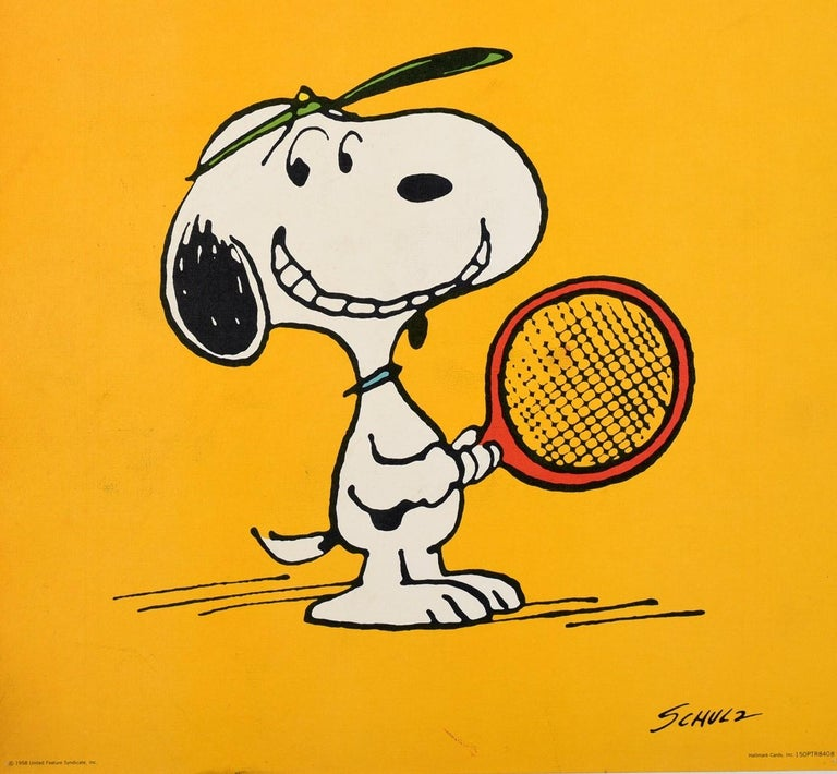 Original vintage Snoopy poster - Speak softy and Carry a $75.00 Racket! - featuring a fun and colourful illustration by the renowned American cartoonist Charles M. Schulz (Charles Monroe Schulz