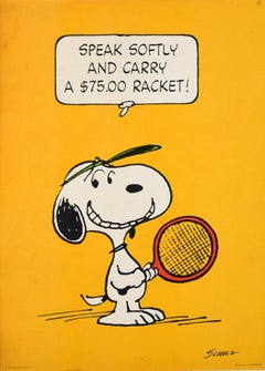 Original Vintage Snoopy Poster Tennis Cartoon Speak Softy And Carry A $75 Racket