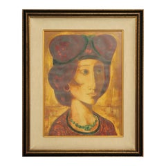 Modern Abstract Figurative Portrait of a Woman in a Maroon Turban