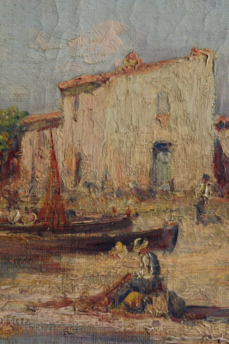 An absolutely wonderful Impressionist coastal village scene that could hold its own in any collection of superb oil paintings (see artist bio below). I've priced it right in the middle of the auction (wholesale!) price estimates of $3,000 to $5,000
