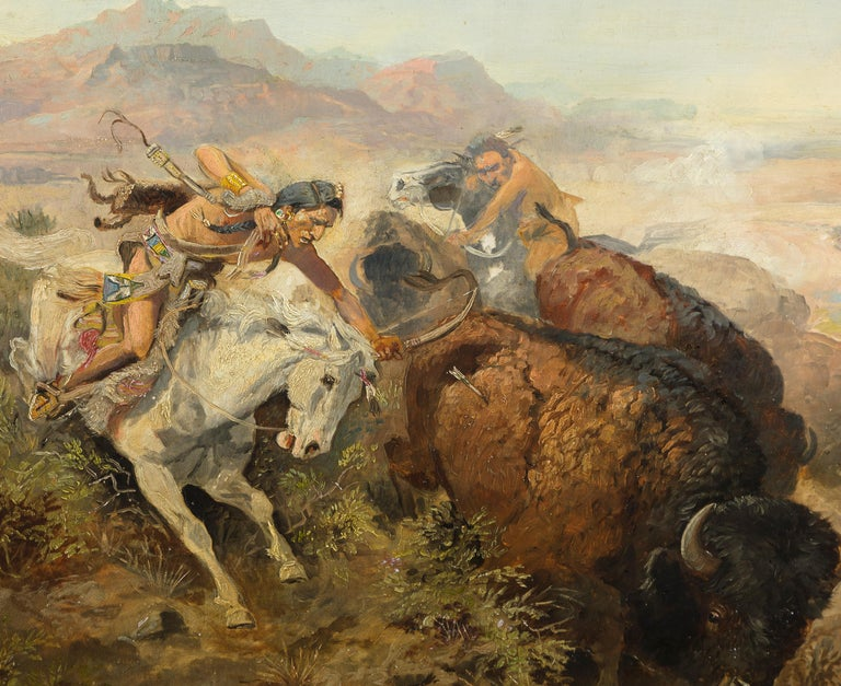 Cascade Buffalo Hunt - American Impressionist Painting by Charles Marion Russell