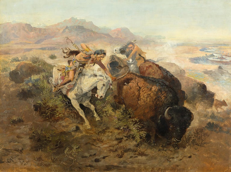 Charles Marion Russell Landscape Painting - Cascade Buffalo Hunt