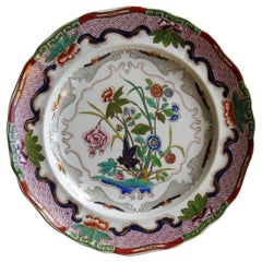 Charles Meigh Ironstone Plate Hand Painted Floral Pattern No. 422, circa 1840