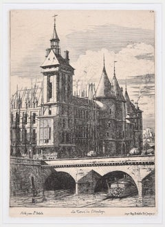 La Tour de l'Horloge - Original Etching by C. Meryon - 1850 ca.