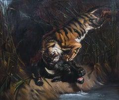 Tiger Attacking A Buffalo, 19th Century