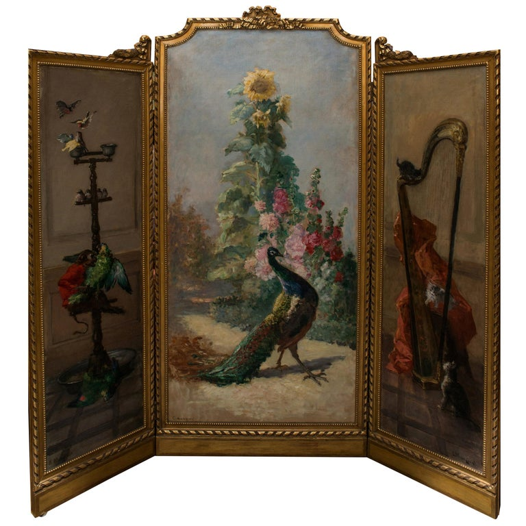 Charles Monginot Antique Impressionist Oil Triptych For Sale