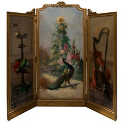 Charles Monginot Antique Impressionist Oil Triptych